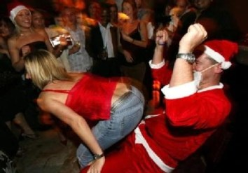 office party santa lap dance