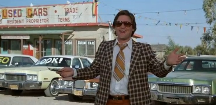 If I can include Kurt Russell in a post, you're damn right I'm going to include Kurt Russell. From the movie Used Cars.
