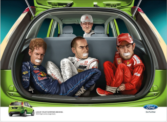 Pretty sure Ford (not an endorsement) is saying you should carpool by kidnapping Formula-1 Drivers?