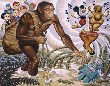 "This is the amazing Todd Schorr's ""The Hunter Gatherer"" (I'm calling him amazing, that's not his nickname to my knowledge)"