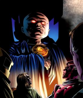 There, that's Uatu, appearing and looking down on all, like my parents
