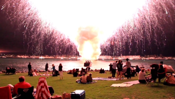 This is either a view of how every teenager pictures their M80 fun times or a fireworks show where a malfunction set all of them off in 30 seconds.