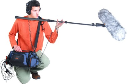 In case you were confused, this is a boom mic operator.