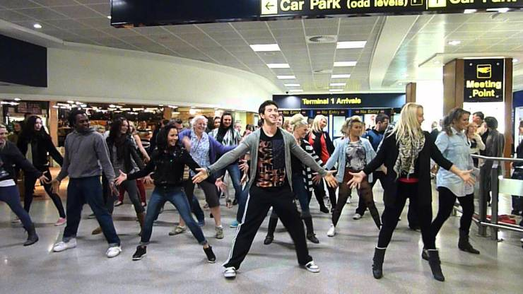Because nobody is in a rush in an airport? You know what other groups do terrible synchronized dances? Country Western line dancing, and that sucks too.